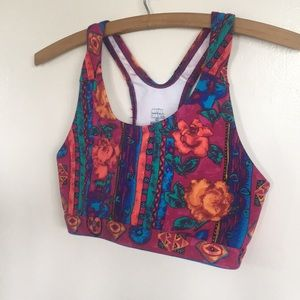 CUTE 90s Floral Festival Sports Bra Sz S USA Made